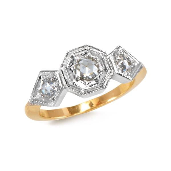 67- R283-2 tone- 3stone ring