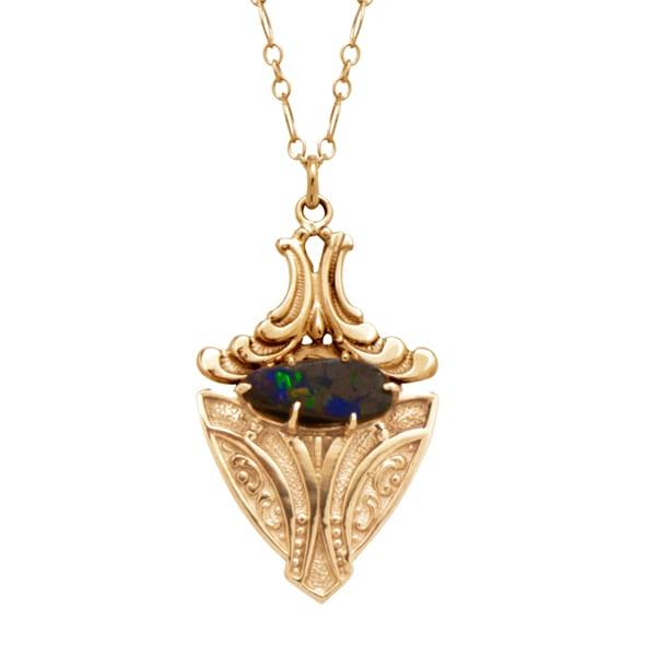 Nu Vo Vintage-N628 locket w opal